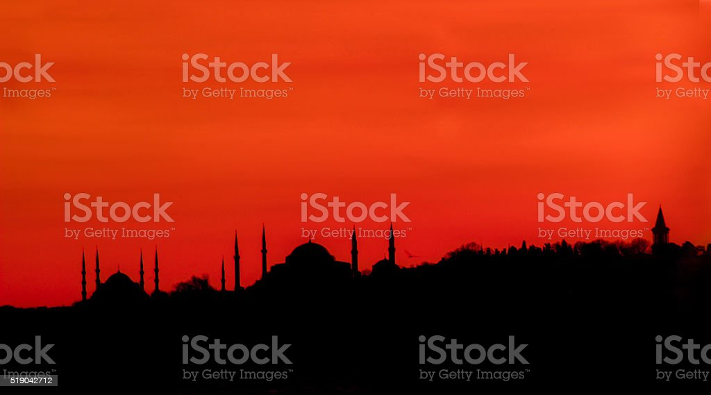 Istanbul skyline semi island stock photo