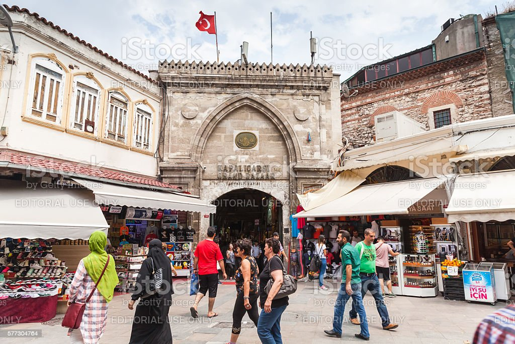 Istanbul streetview, Grand Bazaar entrance stock photo