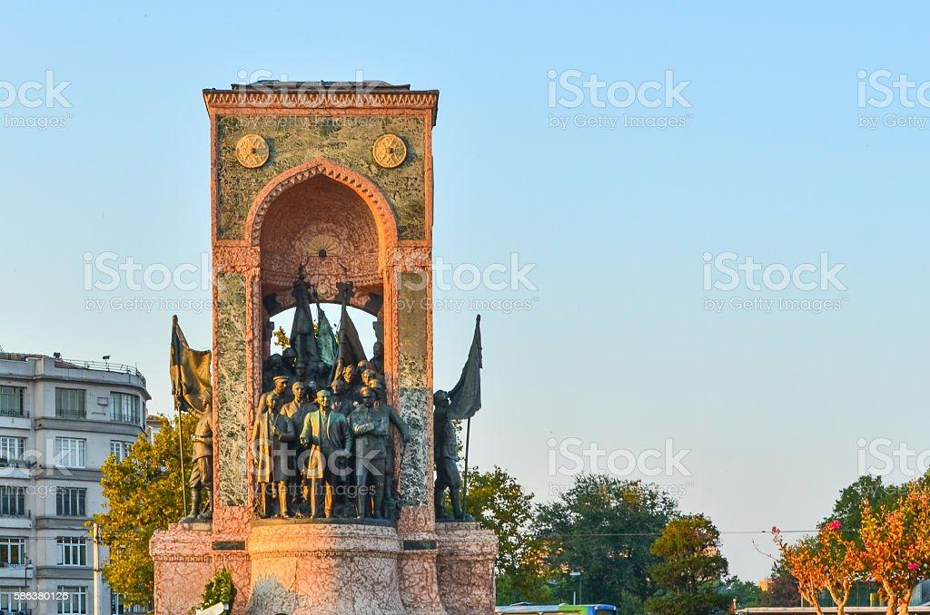 Istanbul Taksim, Republic Monument stock photo