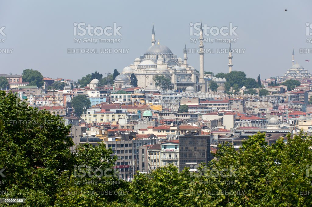 Istanbul - the panoramic view from the palace Topkapi stock photo