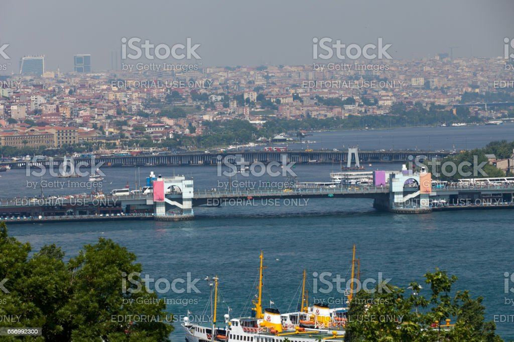 Istanbul - the view on the strait Bosphorus from the palace Topkapi stock photo
