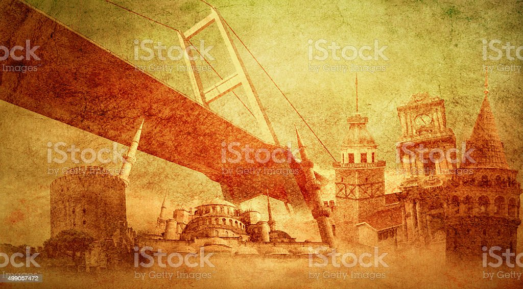 Istanbul Turkey and historic buildings stock photo