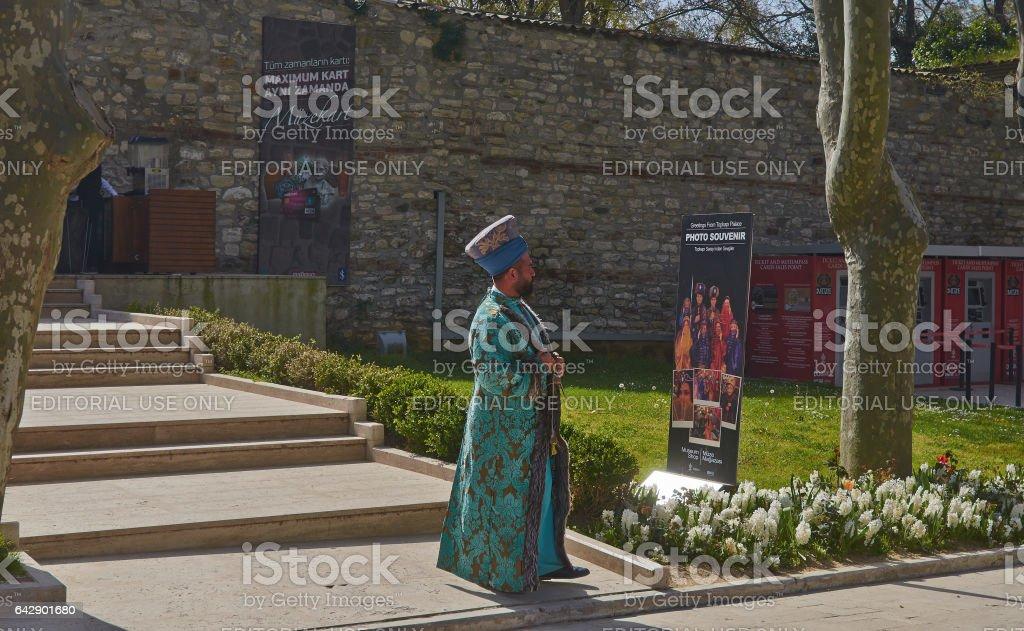 Istanbul, Turkey, April, 06, 2016, dressed actor, Topkapi Palace, editorial. stock photo