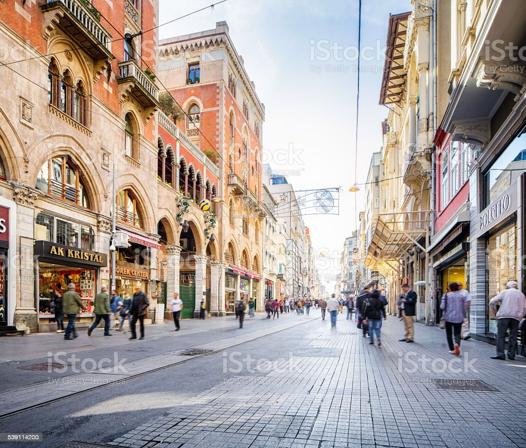 Istanbul Turkey Beyoglu Istiklal shopping street daytime stock photo