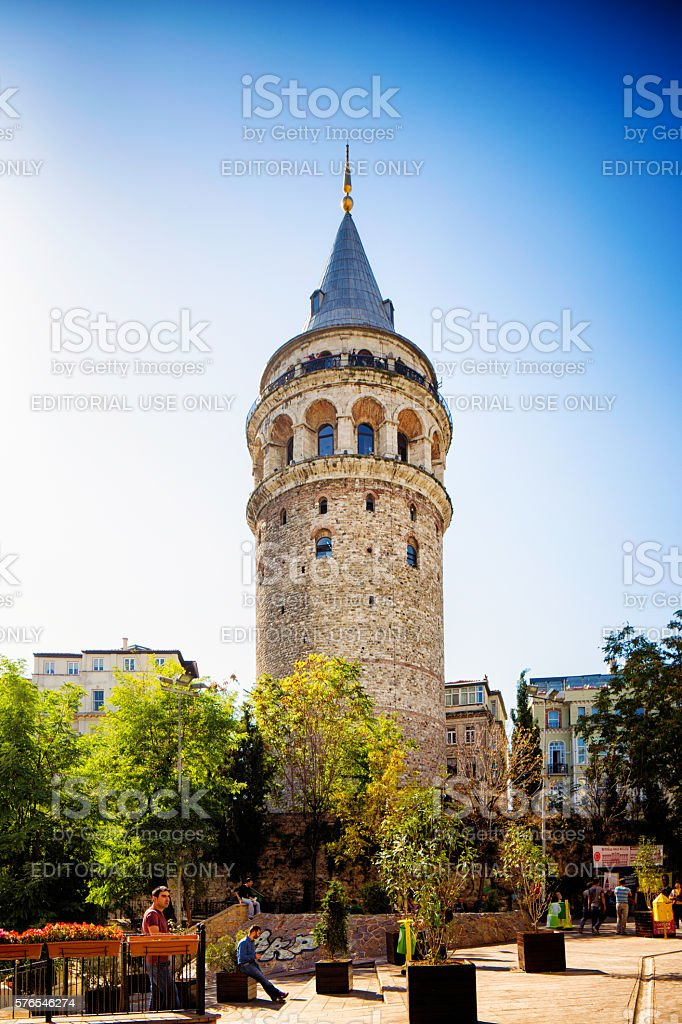 Istanbul Turkey Galata Tower under a clear sky stock photo