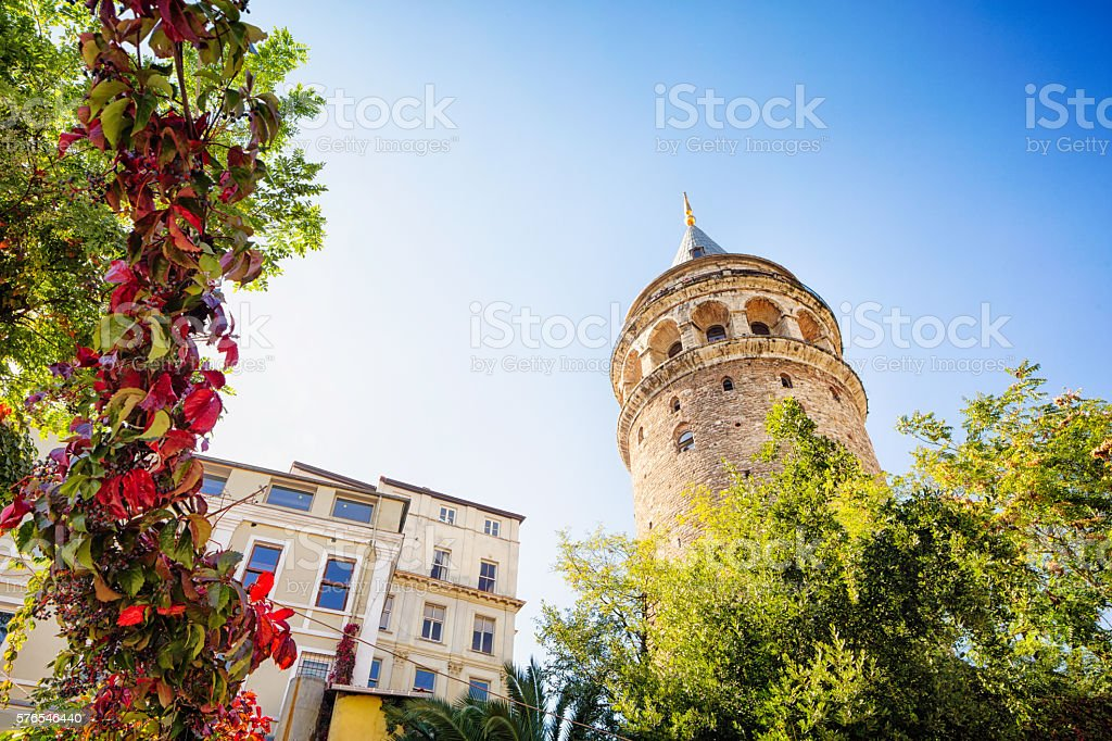 Istanbul Turkey Galata Tower with trees and buildings stock photo