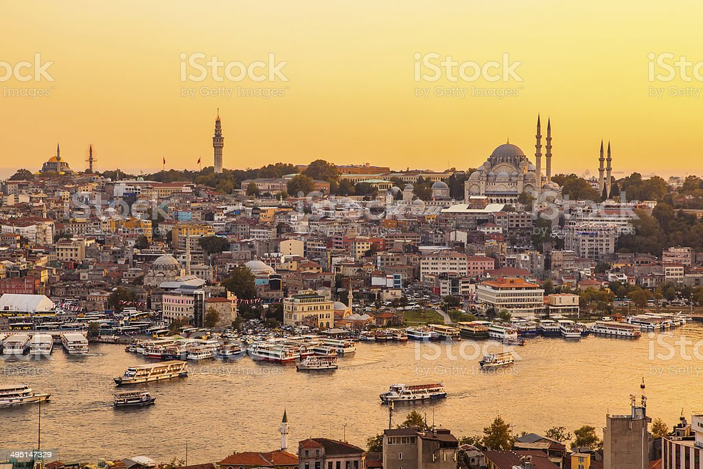 Istanbul, Turkey, View on Golden Horn bay from Galata Tower stock photo