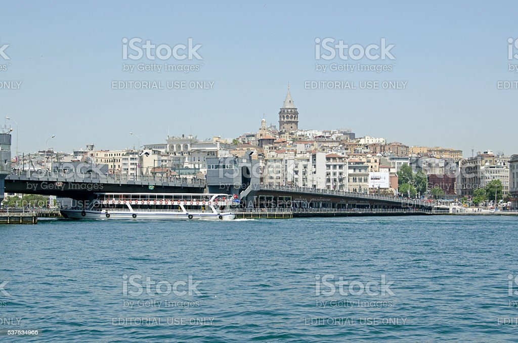 Istanbul view of Golden Horn and Galata Bridge stock photo