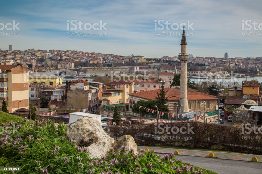 Istanbul view of old city mosque, Balat Fatih stock photo