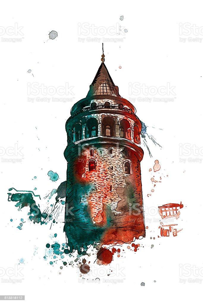 Istanbul / Watercolor / Illustration stock photo