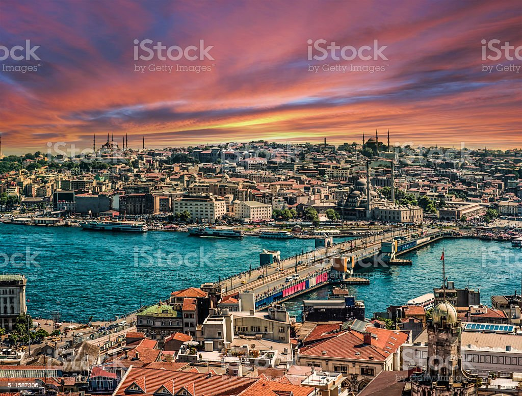 Istanbul with Golden Horn at sunset stock photo