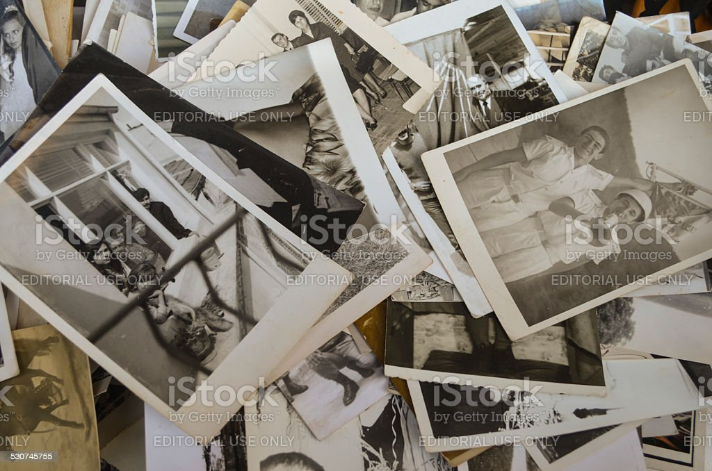 Istanbul's antique district in Çukurcuma, old family photos sold. stock photo