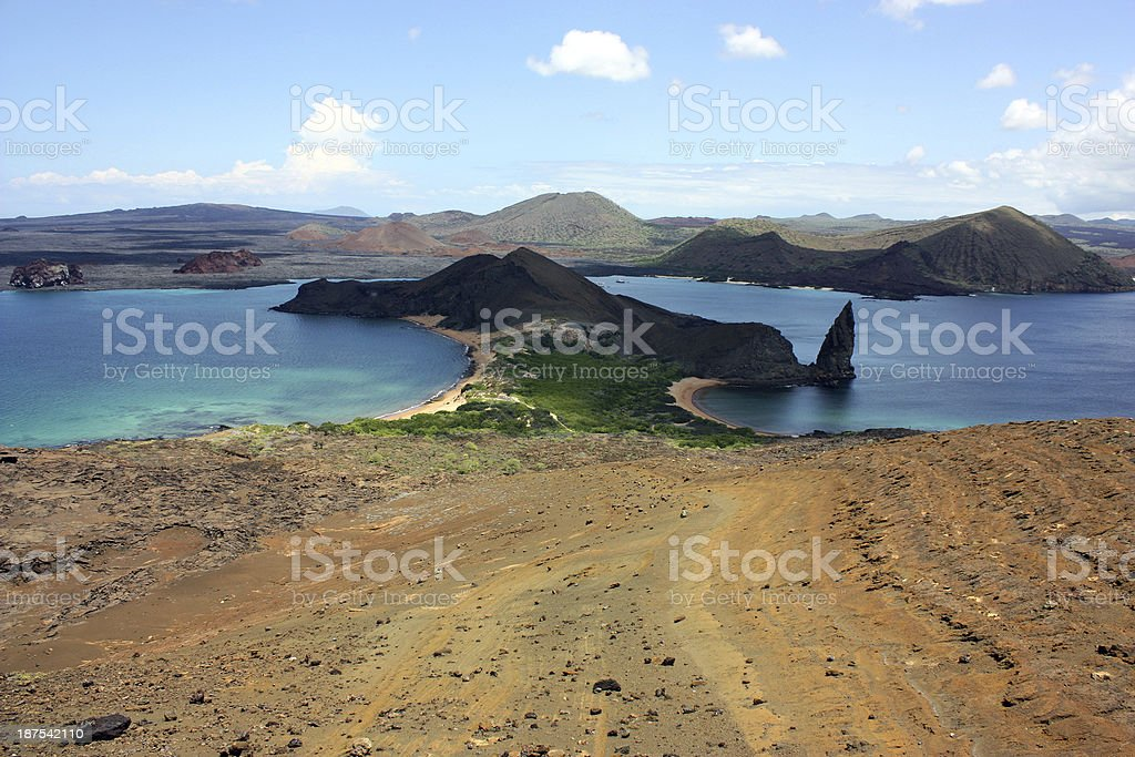 Isthmus of Bartolome and Pinnacle Rock stock photo
