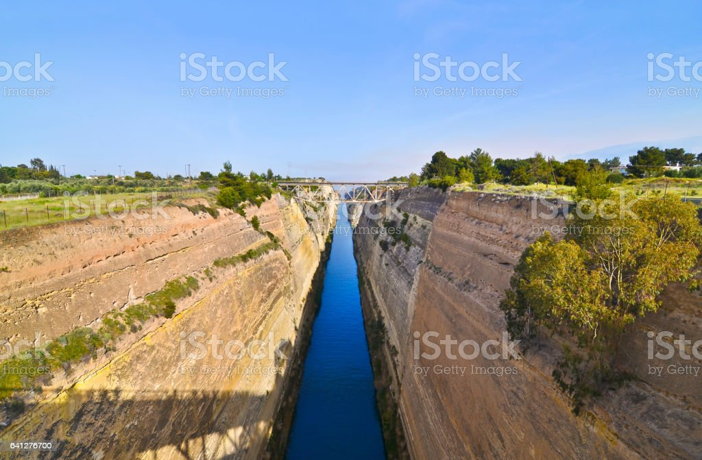 Isthmus of Corinth Greece stock photo