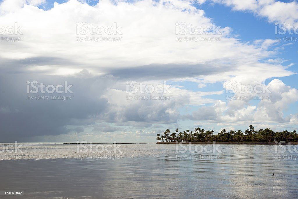 Isthmus with coconut-trees stock photo