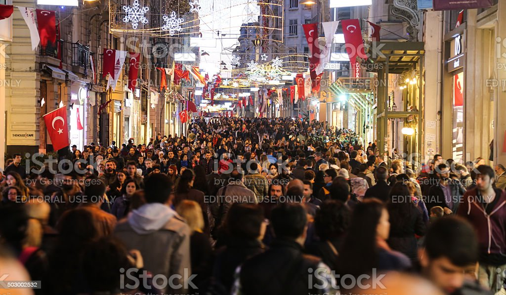 Istiklal Avenue in Istanbul City stock photo