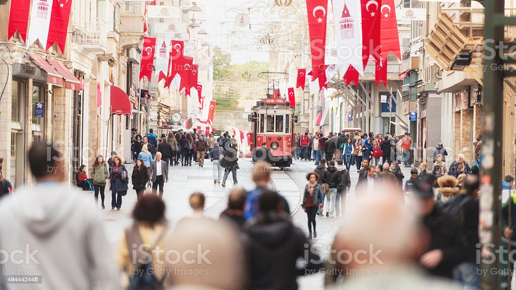Istiklal avenue in morning hours stock photo