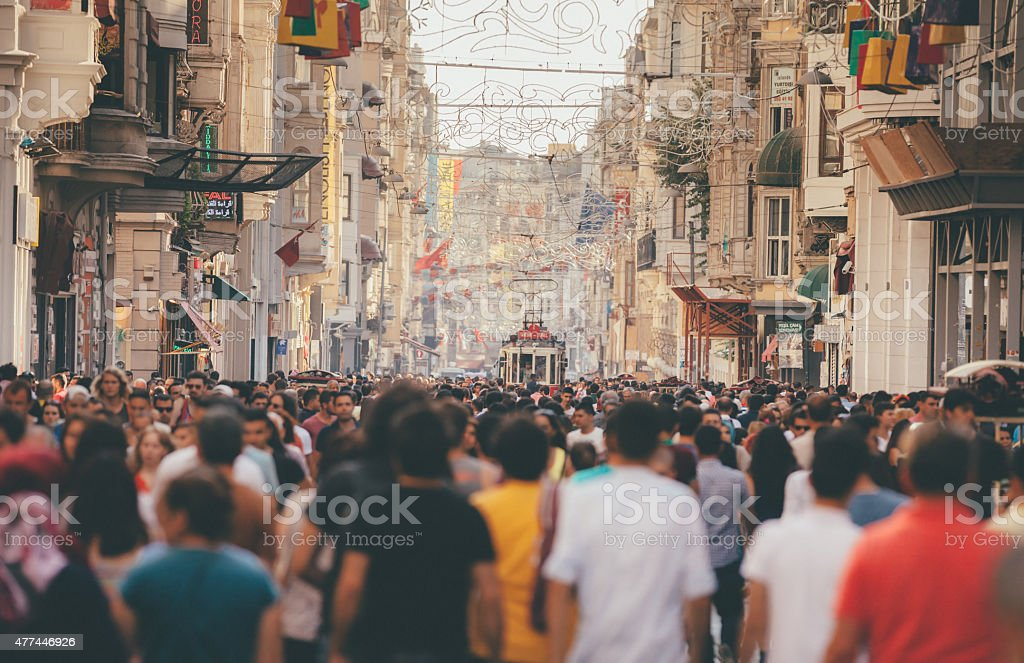Istiklal Avenue Istanbul Crowd stock photo