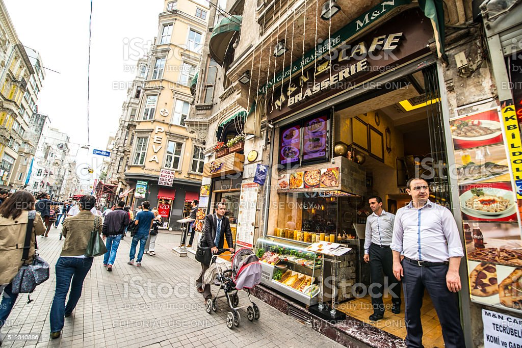 Istiklal Avenue Shops and people, Istanbul stock photo