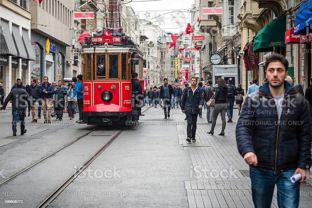 Istiklal street, red tram in Istanbul stock photo