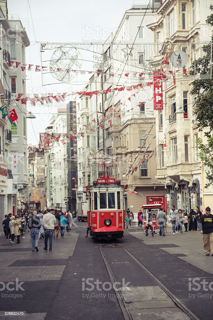 Istiklal street with nostalgic tram in Istanbul stock photo
