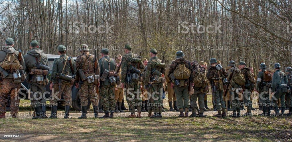 istorical reconstruction of the battles of World War II. Construction of soldiers before the beginning of the reconstruction of the battle. stock photo