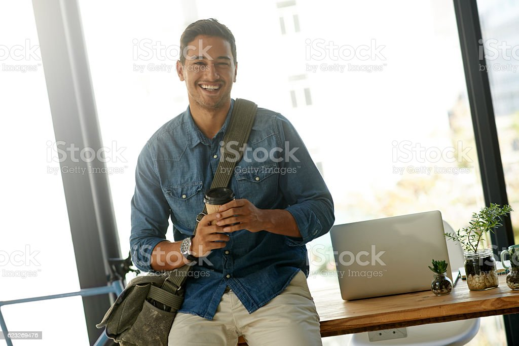 It feels good to be my own boss stock photo