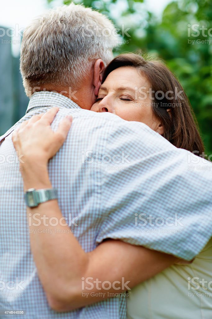 It feels so right when you hug me so tight stock photo