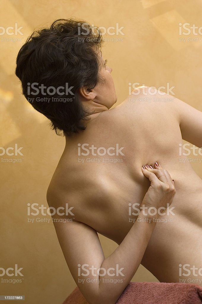 It hurts right here stock photo