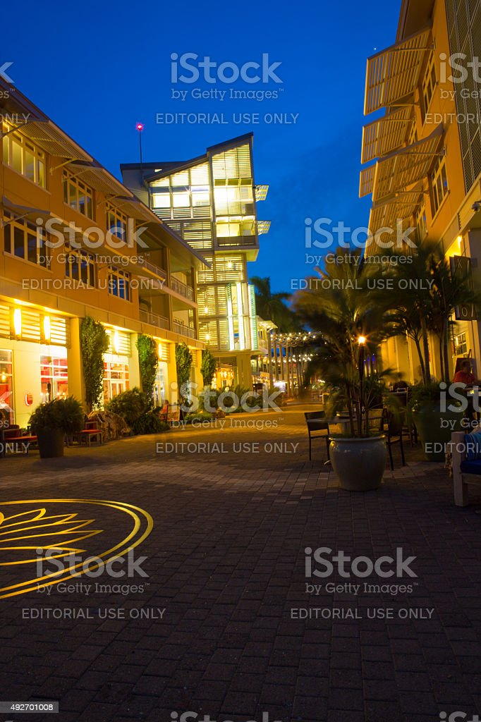 Beautiful evening in town center of Camana Bay, Grand Cayman stock photo