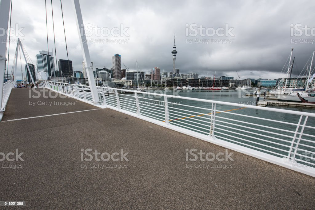 It is a bridge connecting Wynyard Quarter with Auckland Viaduct stock photo