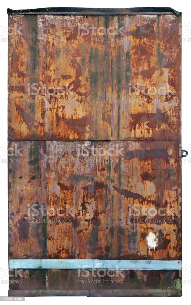 It is a rusty metal door in the underground bunker of times of Cold War. Isolated stock photo