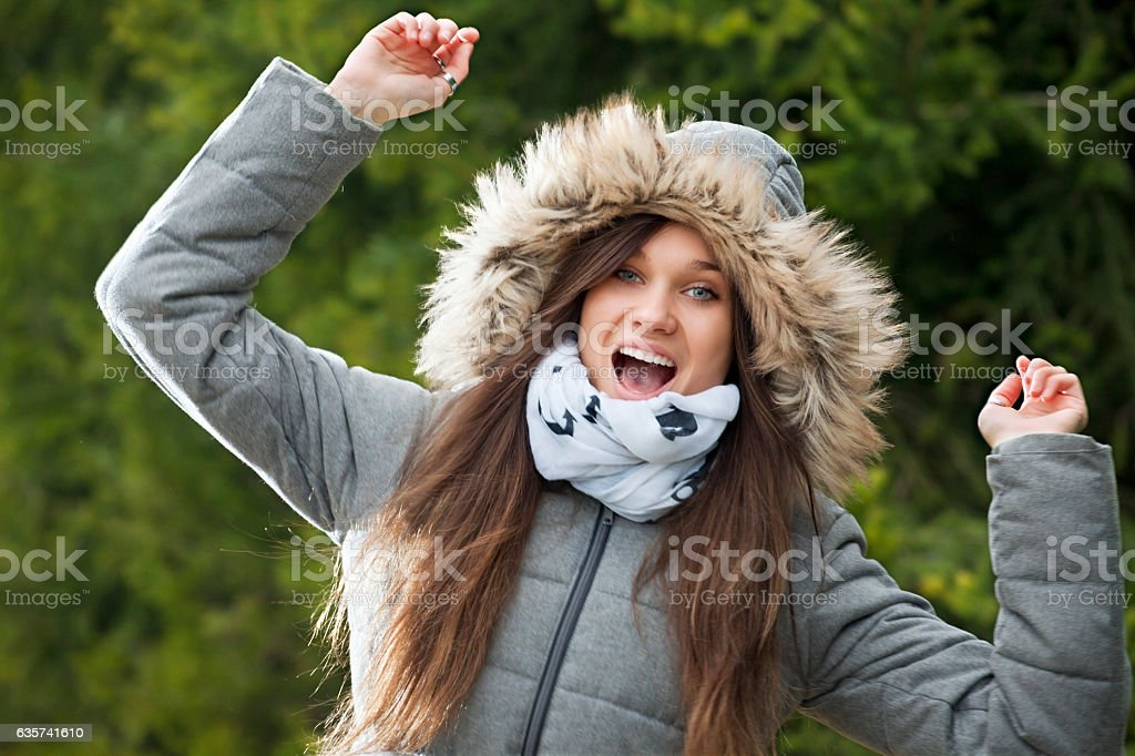 It is cold outdoors but I am happy stock photo