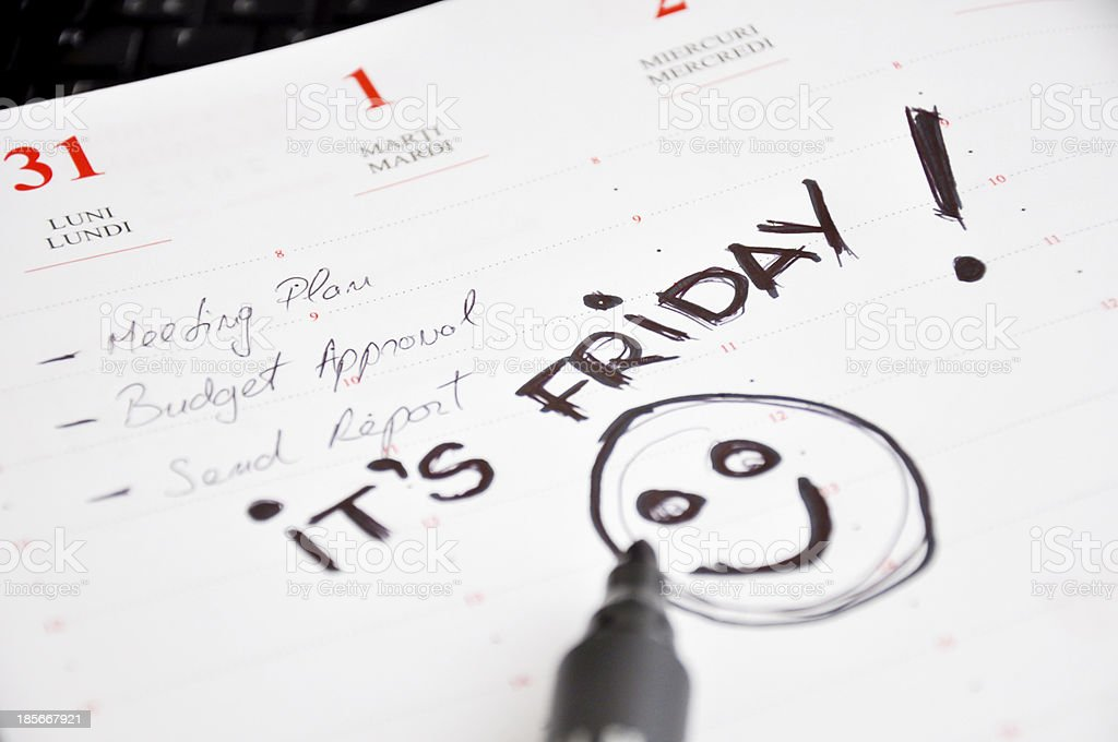 it is friday the day before weekend royalty-free stock photo