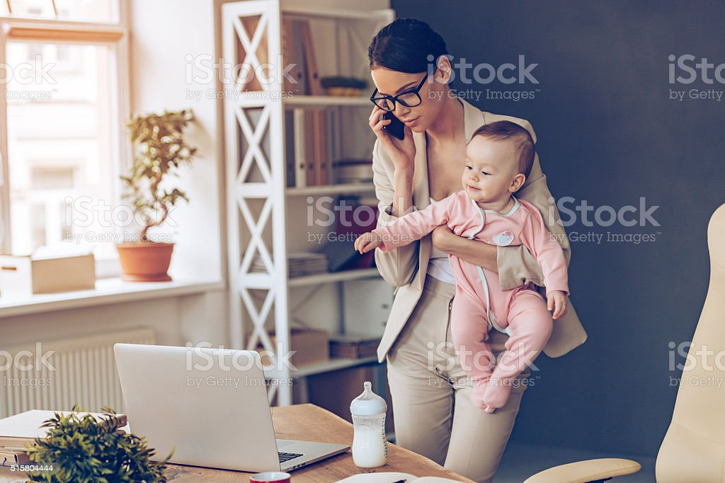 It is not easy to be a working mom! stock photo