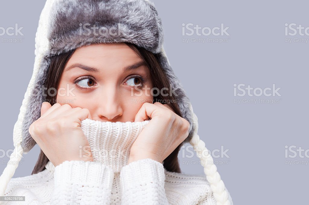 It is so cold. stock photo