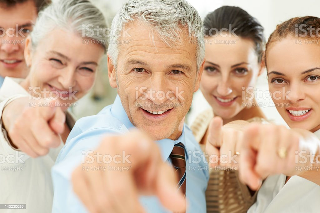 It is you - Business people pointing at you stock photo