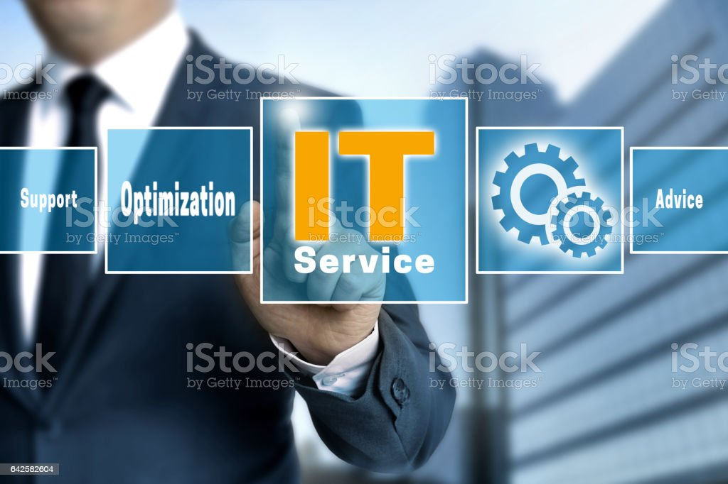 it service optimize support help touchscreen is operated by businessman stock photo