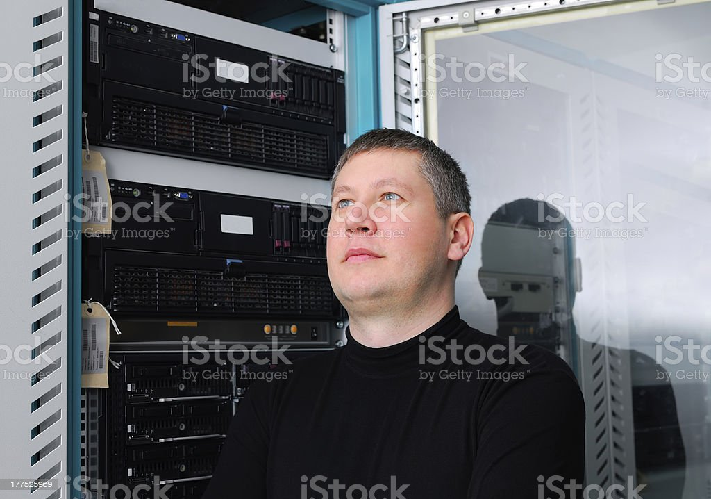 it technician in the data center royalty-free stock photo