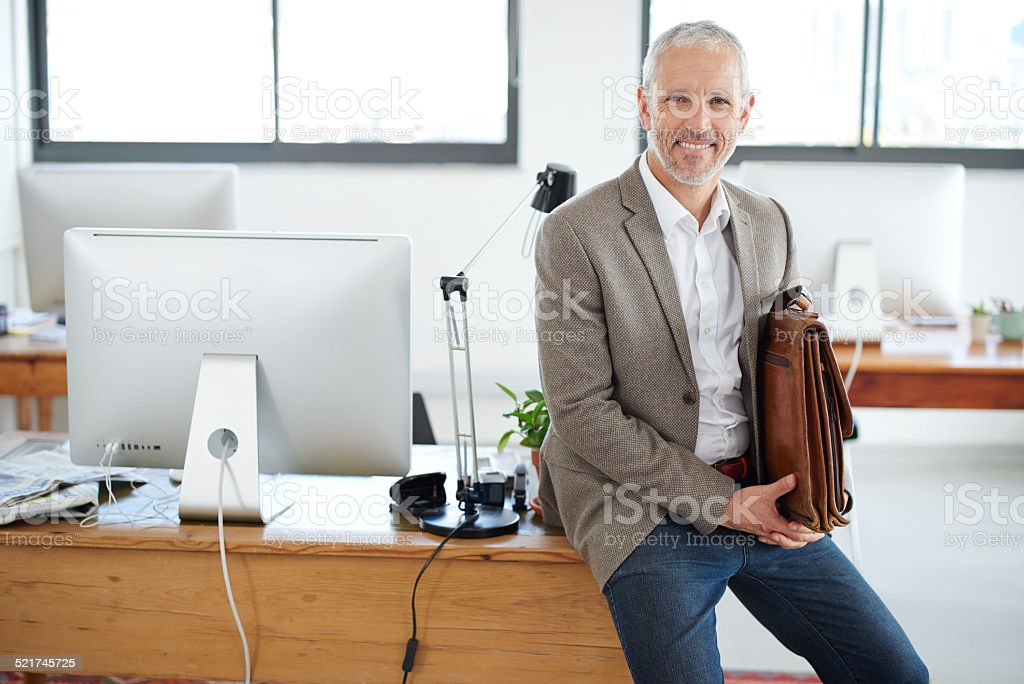 It was a very good day at the office stock photo