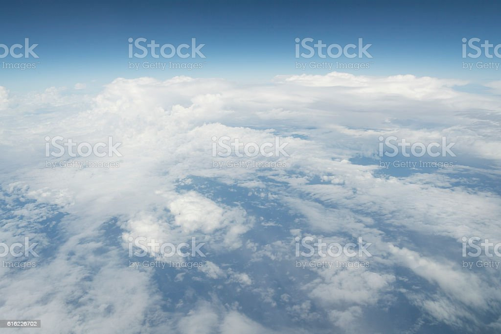 It was covered with white clouds. stock photo