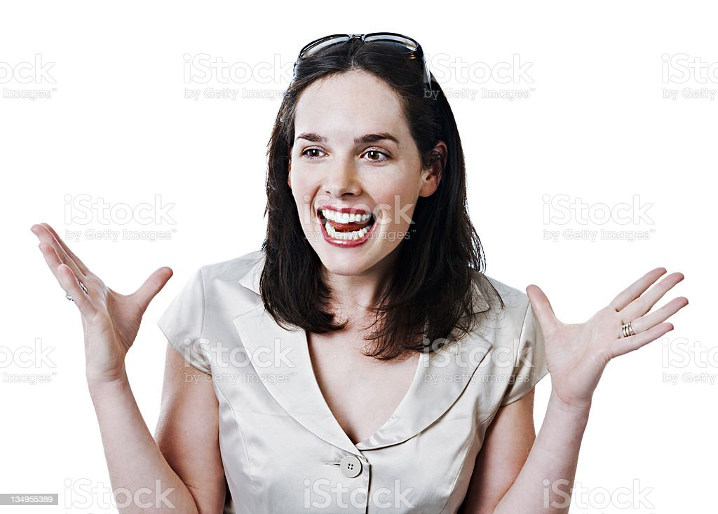 It was this big! Woman talks with her hands. royalty-free stock photo