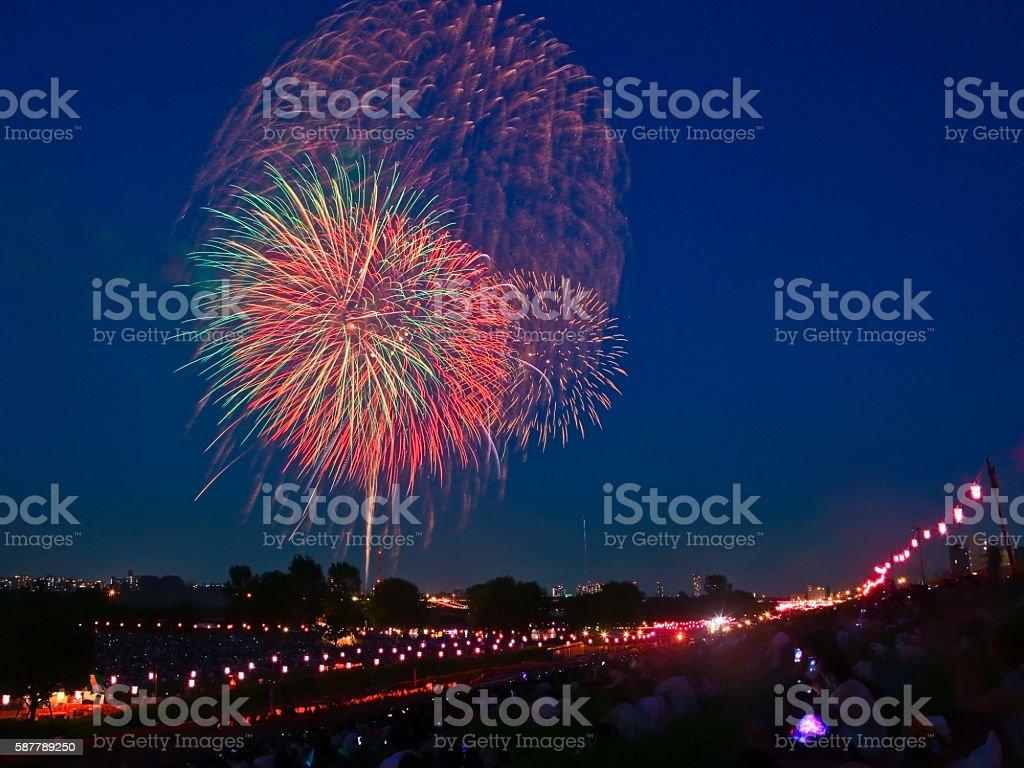 Itabashi Fireworks and Todabashi Fireworks 2016 stock photo