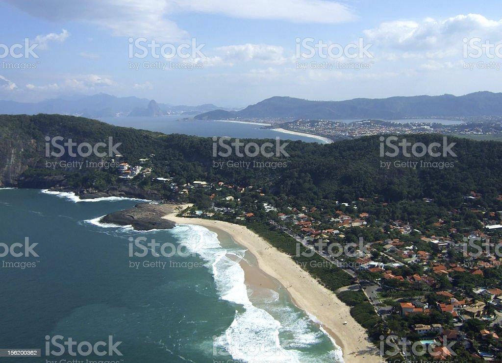 Itacoatiara beach view of Costao Mountain top royalty-free stock photo