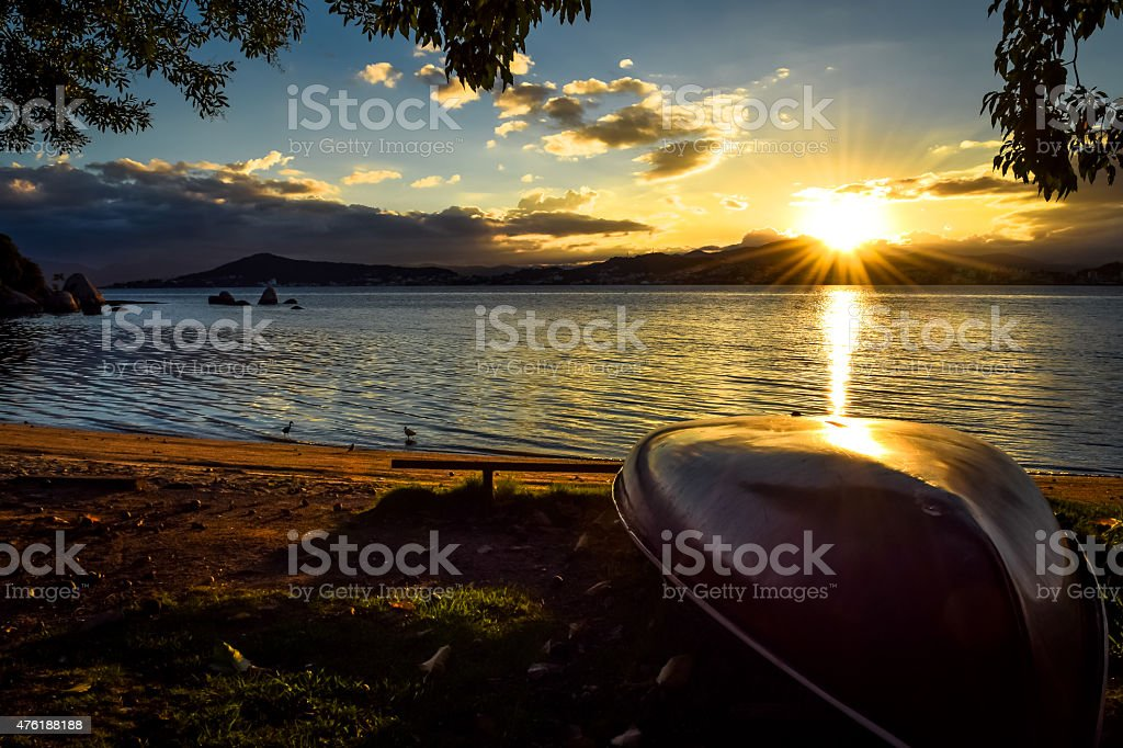 Praia do Itaguaçu Florianópolis stock photo