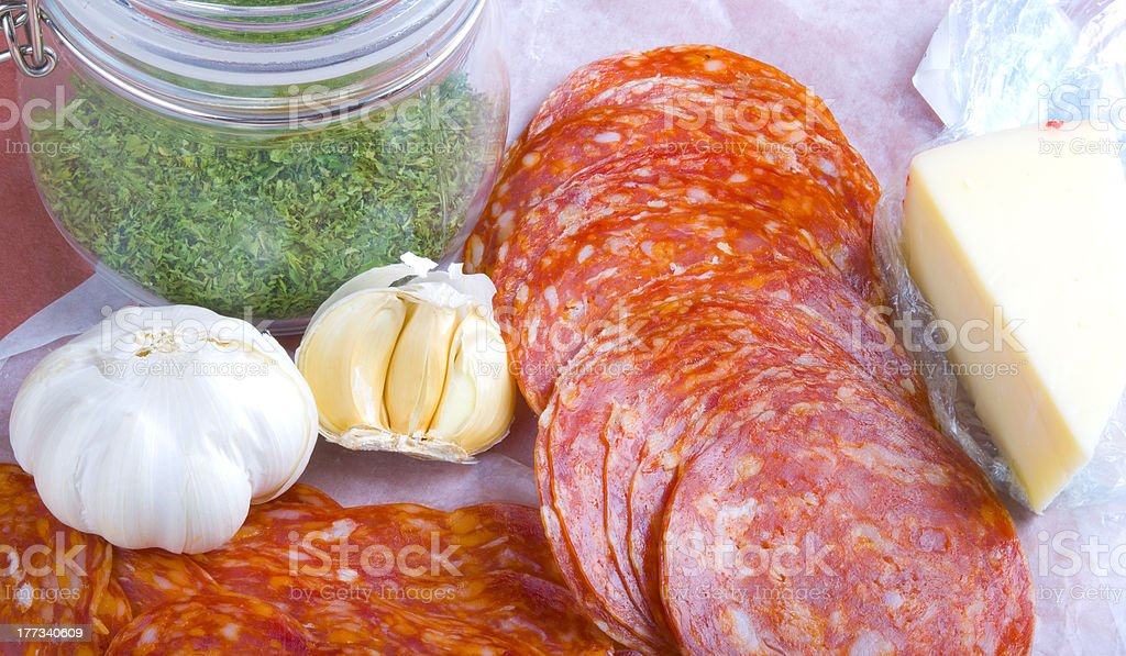 Itailan style lunch meats and ingredients stock photo