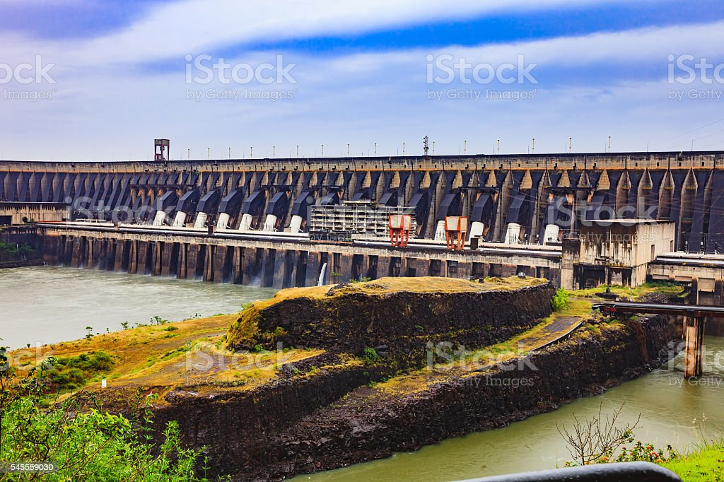The Itaipu Dam located between Brazil and Paraguay. South America. stock photo