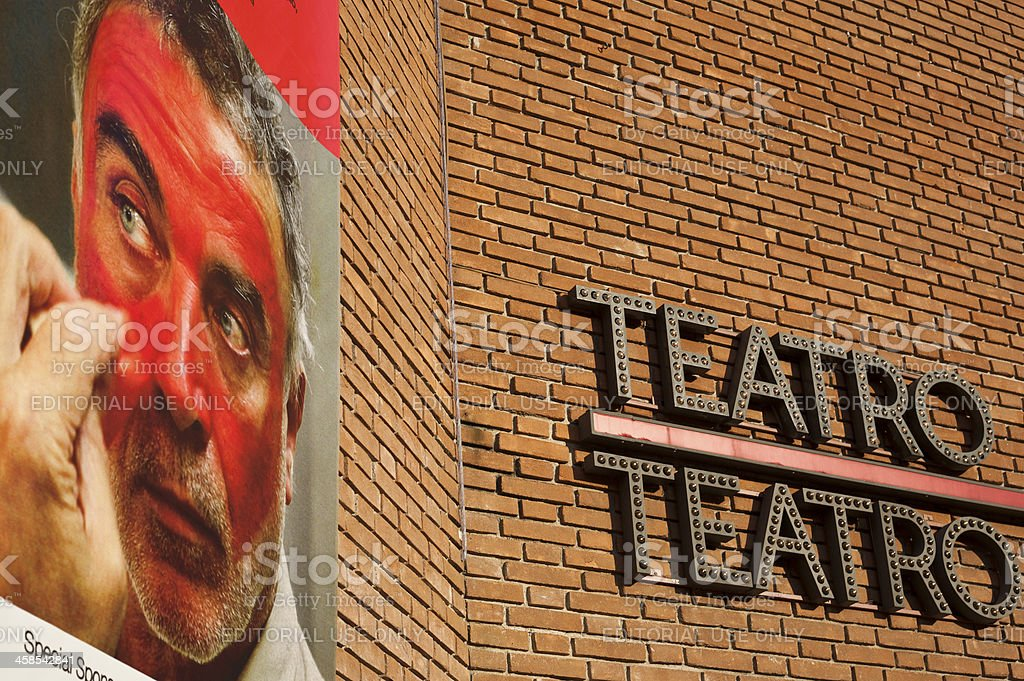 Italian Actor Franco Branciaroli On Piccolo Theatre Wall In MIlan stock photo