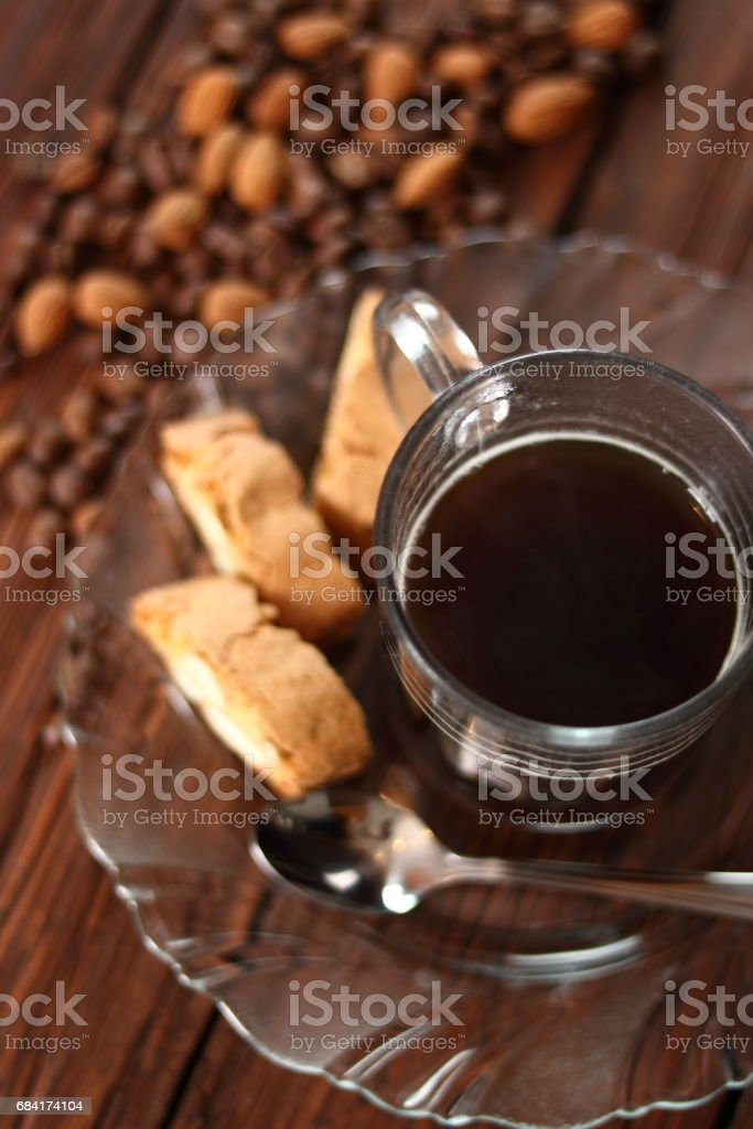 Italian almond biscuits cantuccini and coffee cup stock photo