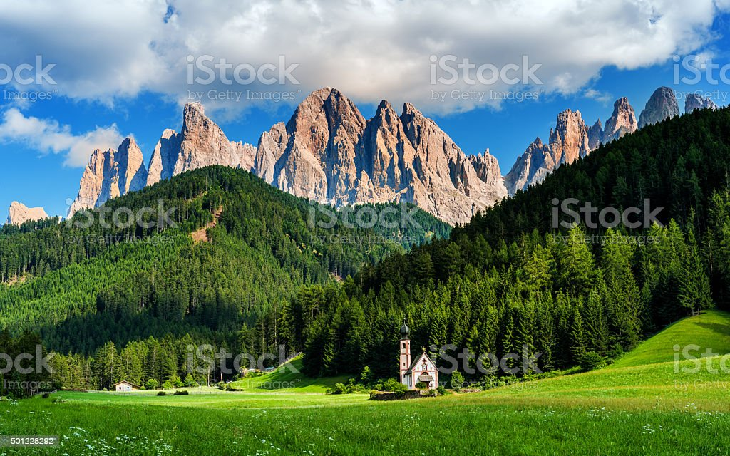 Italian Alps in Funes walley, Dolomites stock photo